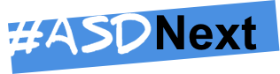 The #ASDNext Logo featuring that text in handwritten scrawl across a blue background box