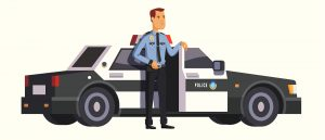 A graphic shows a stylized police officer standing in front of a police car with its door open.