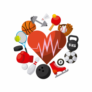Cartoon rendering of a heart surrounded by various sports equipment.