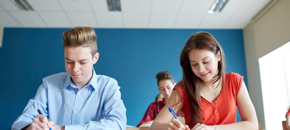 Two teenagers taking a standardized test.