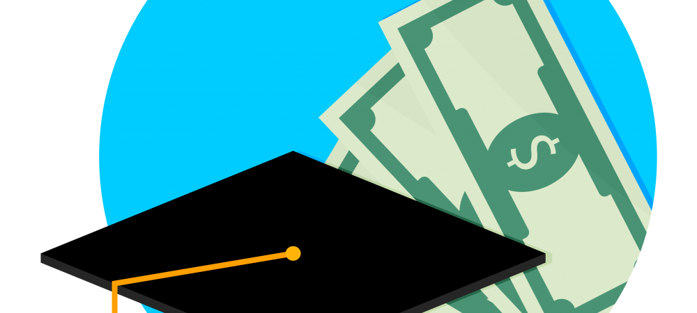 Cartoon rendering of a graduation cap in front of money.