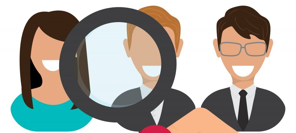 Cartoon rendering of three people with a magnifying glass over them.