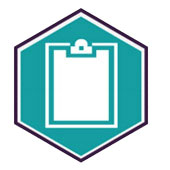 An Icon of a clipboard on a teel background.