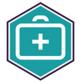 An Icon of a first-aid kit on a teel background.