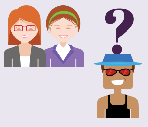 Two women side by side smiling and a man with a question mark over his head