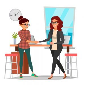 Cartoon rendering of two women shaking hands.