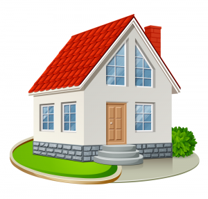 Cartoon rendering of a house.