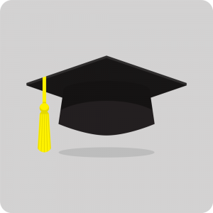 Cartoon rendering of a graduation cap.