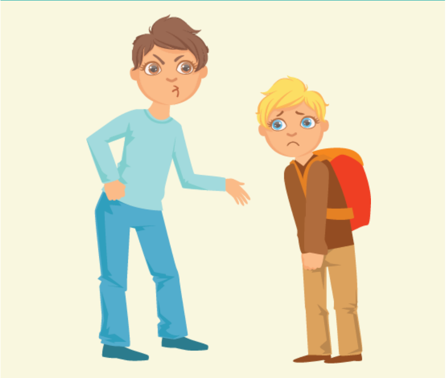 A tall boy with an angry look on his face reaches an arm out toward a small, worried-looking boy wearing a backpack.