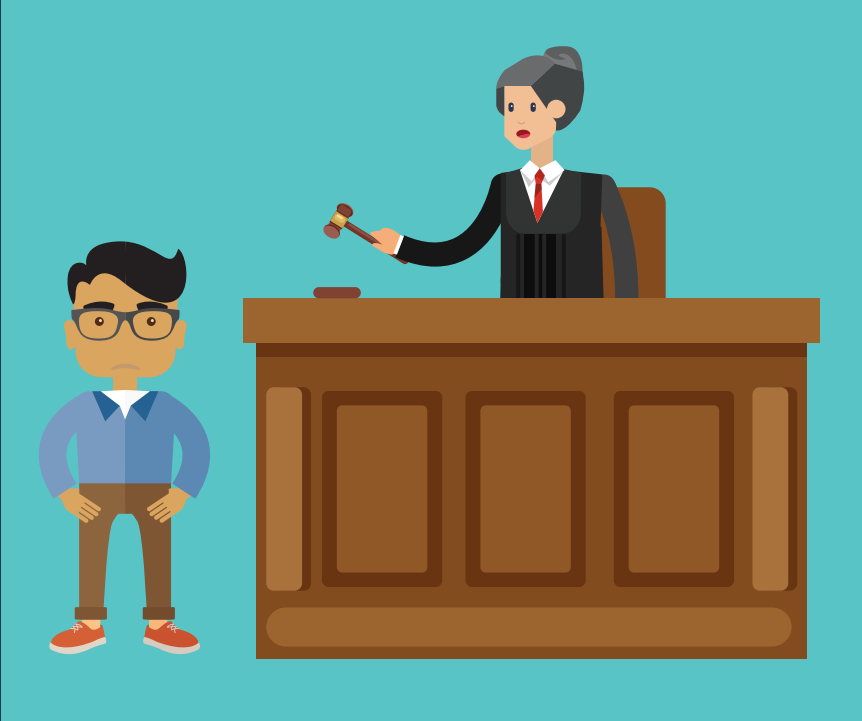 A boy stands in front of a woman who is a judge standing behind a desk holding a gavel.