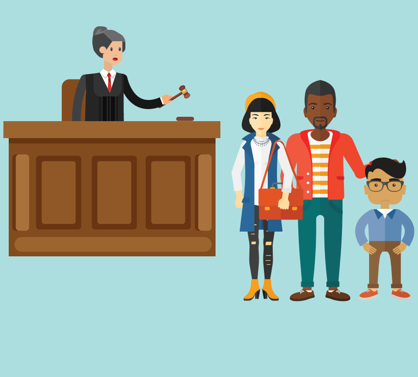 A woman who is a judge stands behind a desk holding a wooden hammer. A woman, man, and boy stand together in front of her.