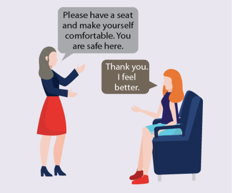 A therapist tells a woman to have a seat and make herself comfortable. The woman says,