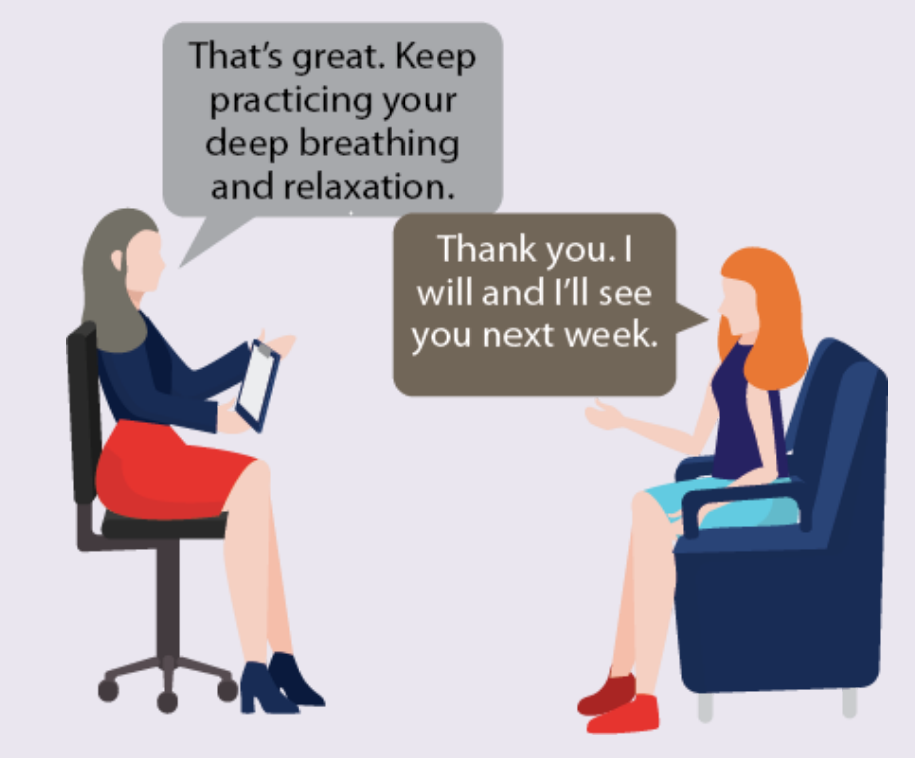 A therapist tells a woman to keep practicing deep breathing and relaxation. The woman says she will come back next week.