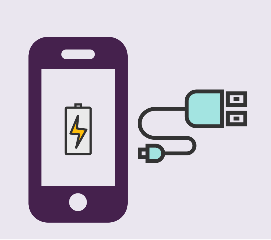 A cell phone with a charging symbol is shown next to a cell phone charger.