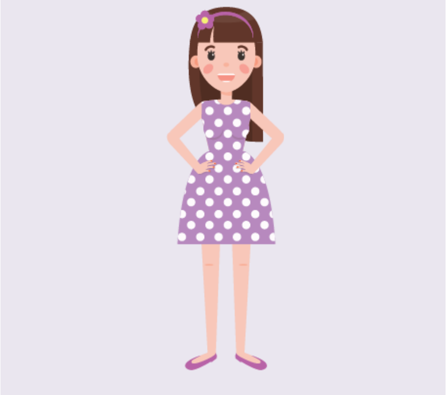 A smiling girl stands with her hands on her hips in the center of the image.
