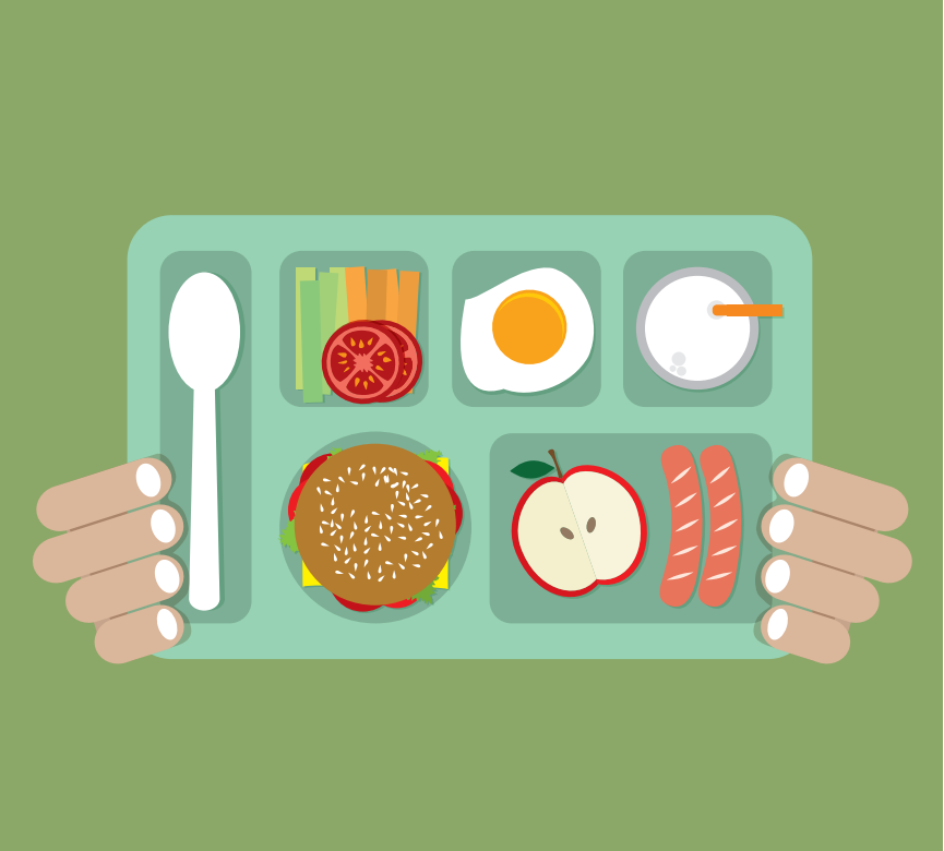 A lunch tray is shown with vegetables, a hamburger, an egg, an apple, hot dogs, and a drink.