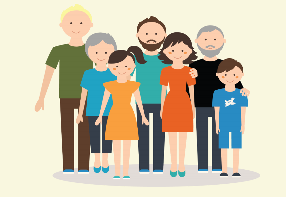 An extended family with children, parents, and grandparents stands together in the center of the image.