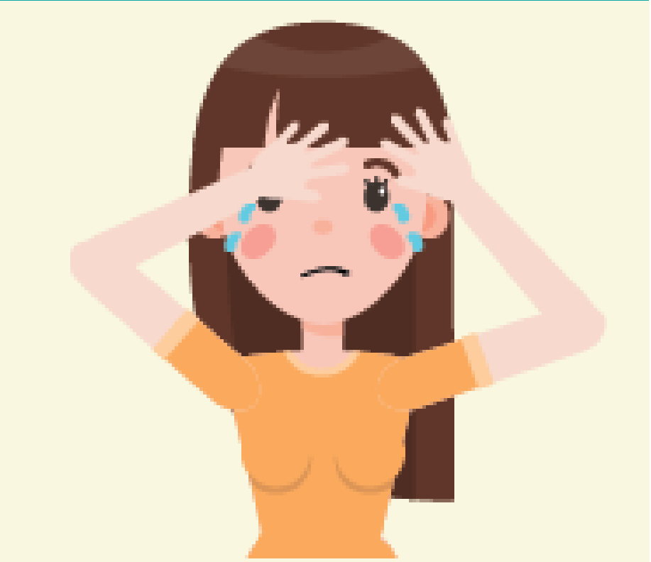 A frowning girl with her hands on her forehead cries in the center of the image.