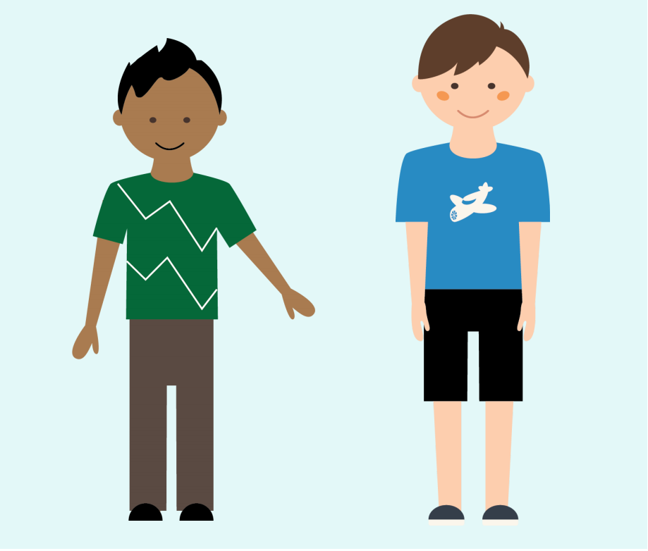 Two smiling boys stand next to each other in the center of the image.