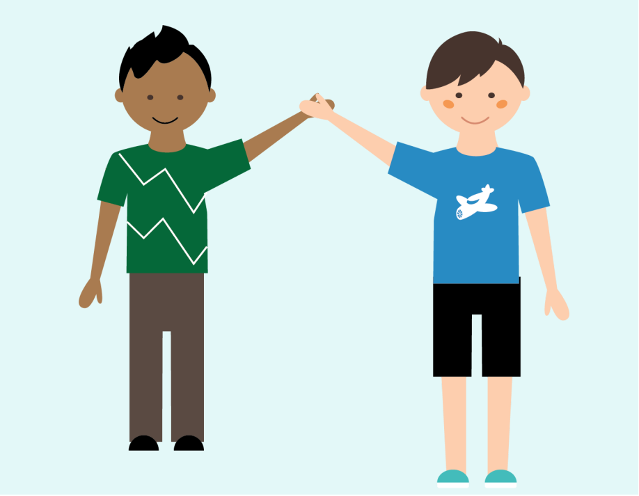 Two boys that are friends give each other a high five.