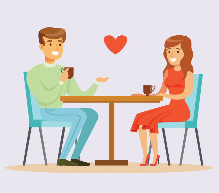A man and woman sit at a table holding mugs. A heart is shown between them.