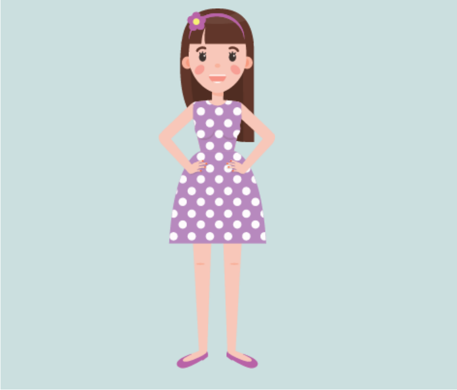 A smiling girl stands in the center of the image wearing a polka-dot dress.