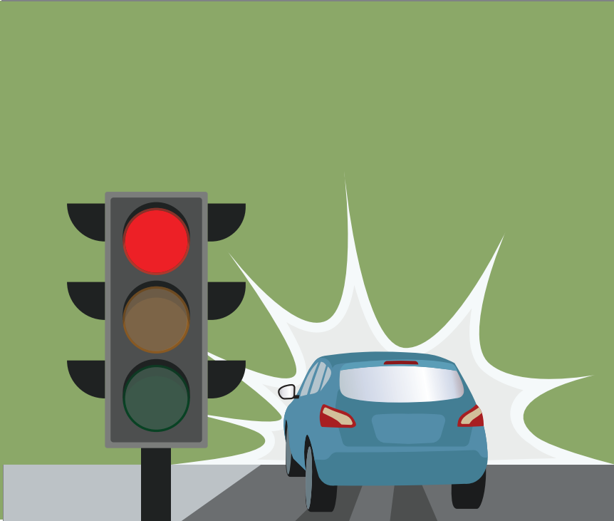A car is shown driving past a traffic light that is red.