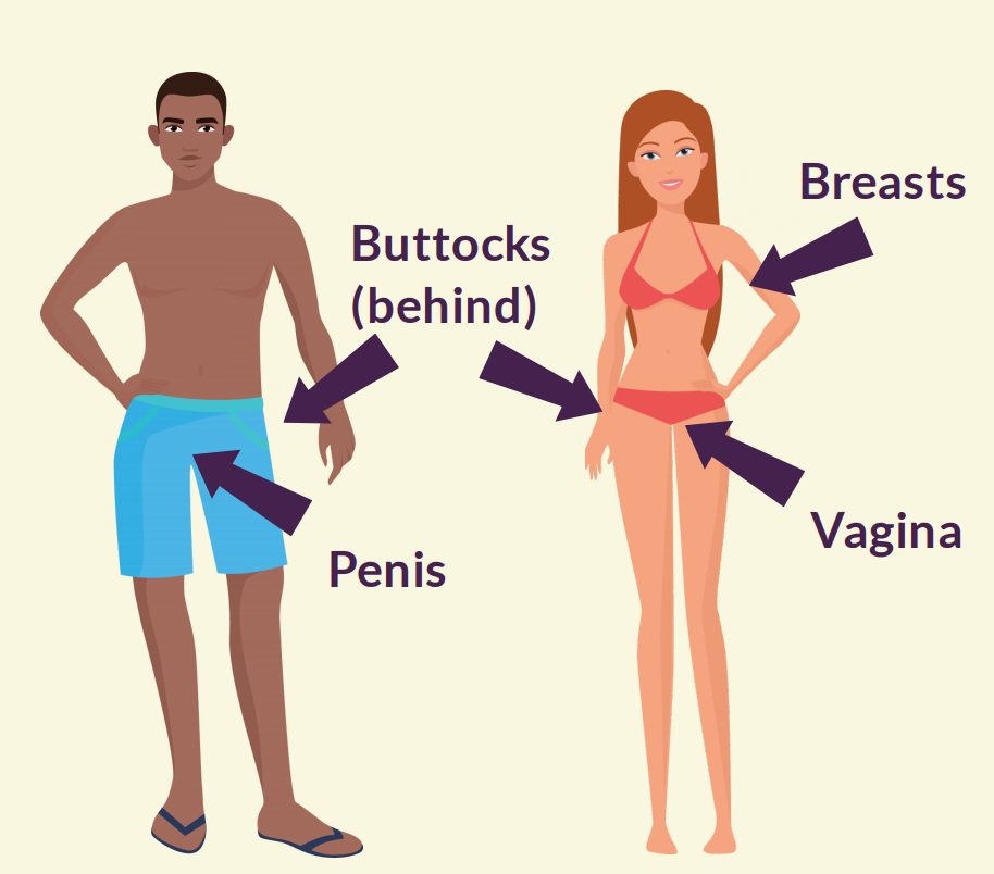 Arrows point to private parts on a man and woman (buttocks and penis on man; buttocks, breasts, and vagina on woman).