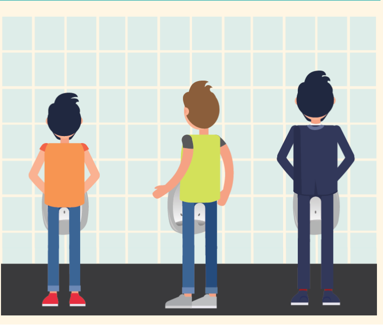A man approaches the middle urinal that is not in use between two men using urinals on either side.