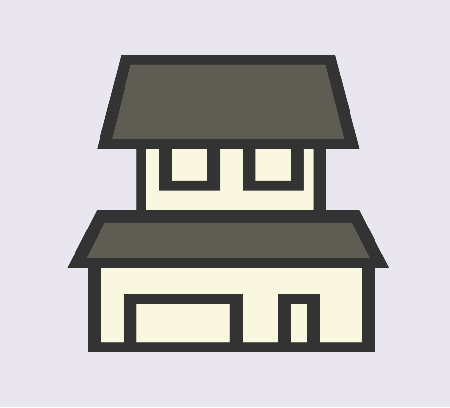 A cartoon rendering of a house in the center of the image.