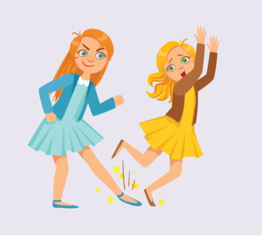 A tall girl puts her foot out in front of another girl who trips and falls as a result.