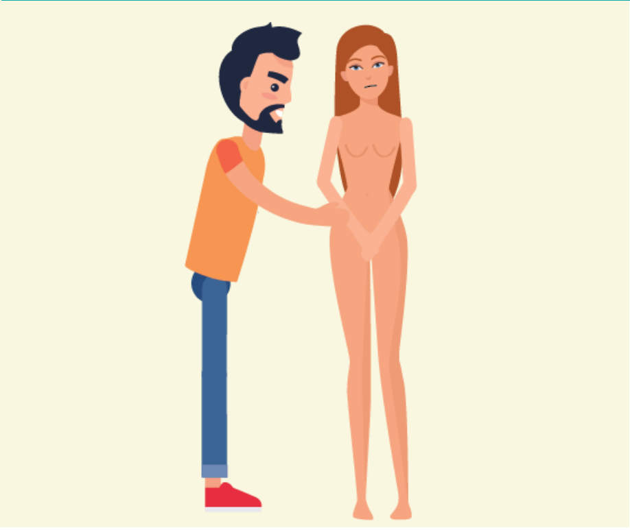 A woman not wearing clothes stands next to a man who reaches his hand out toward her.