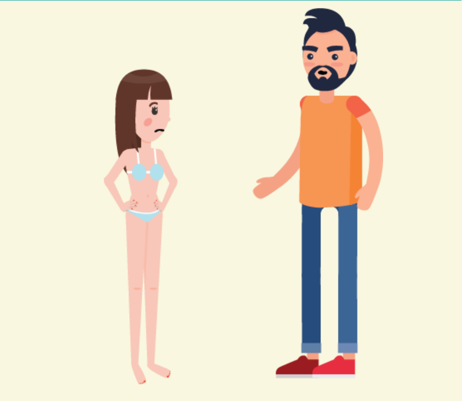 A frowning girl wearing underwear stands next to a man who is talking to her.