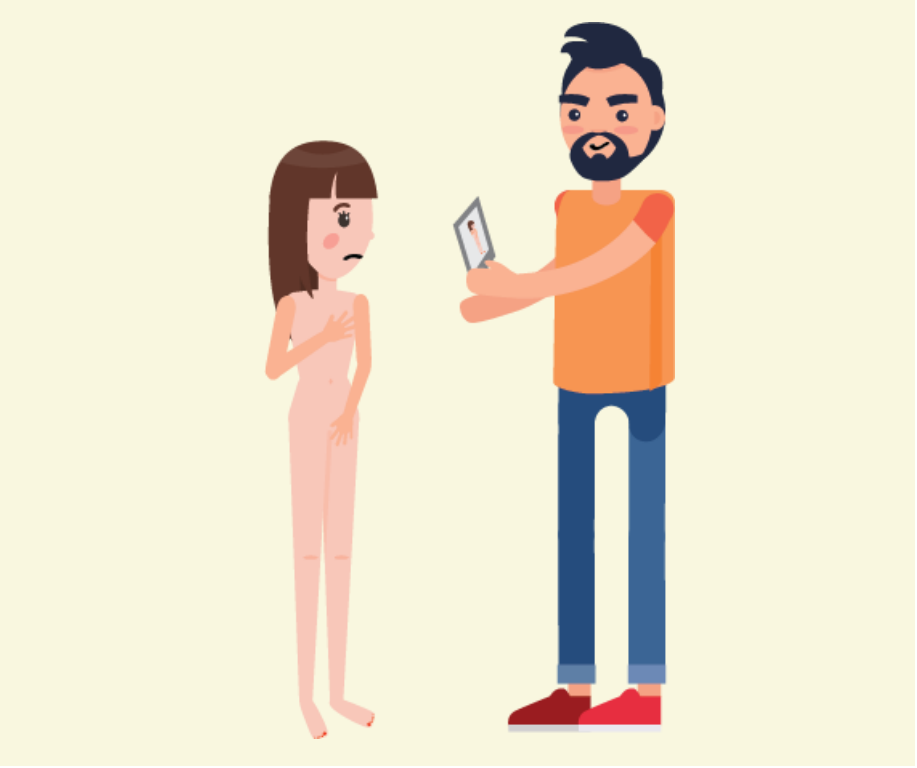 A frowning girl stands without clothes on, and a man shows her a picture of herself not wearing clothes.