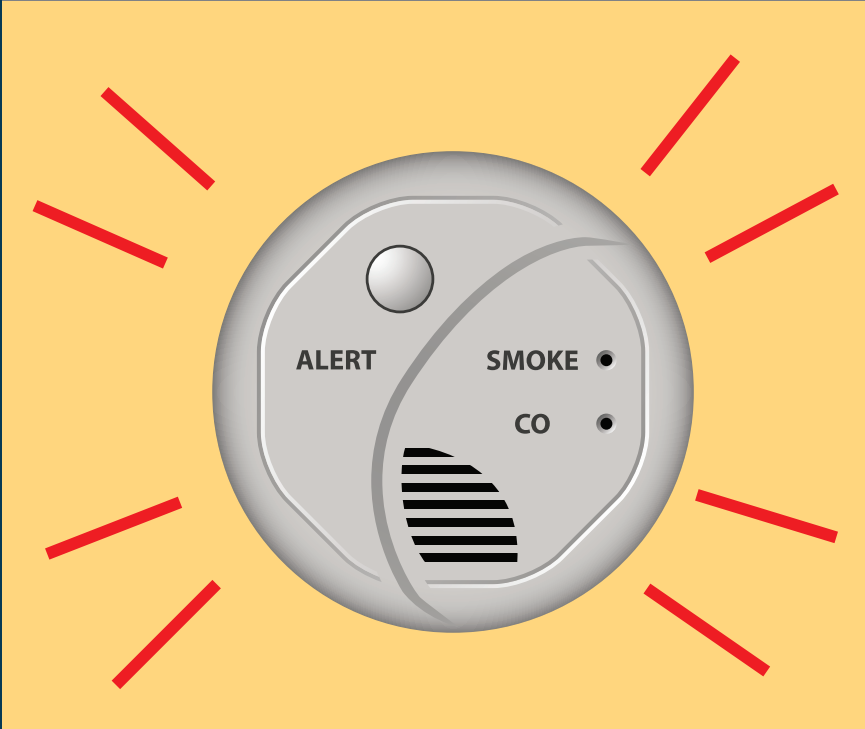 A smoke alarm is shown in the center of lines representing sound.