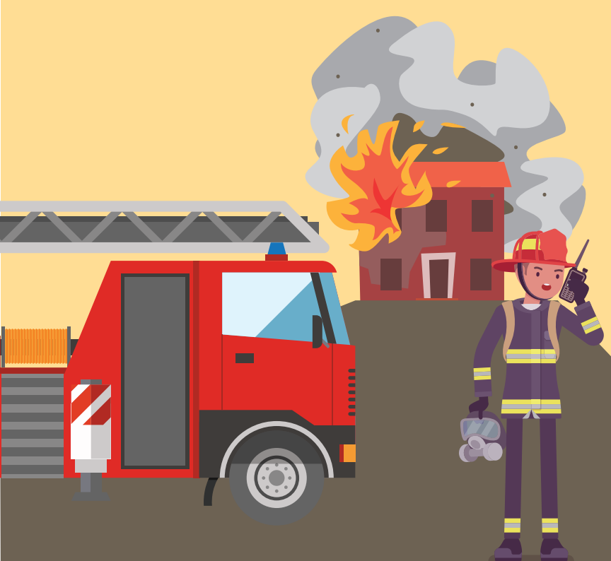 A firefighter speaking into a walkie talkie stands next to a fire engine outside a burning house.