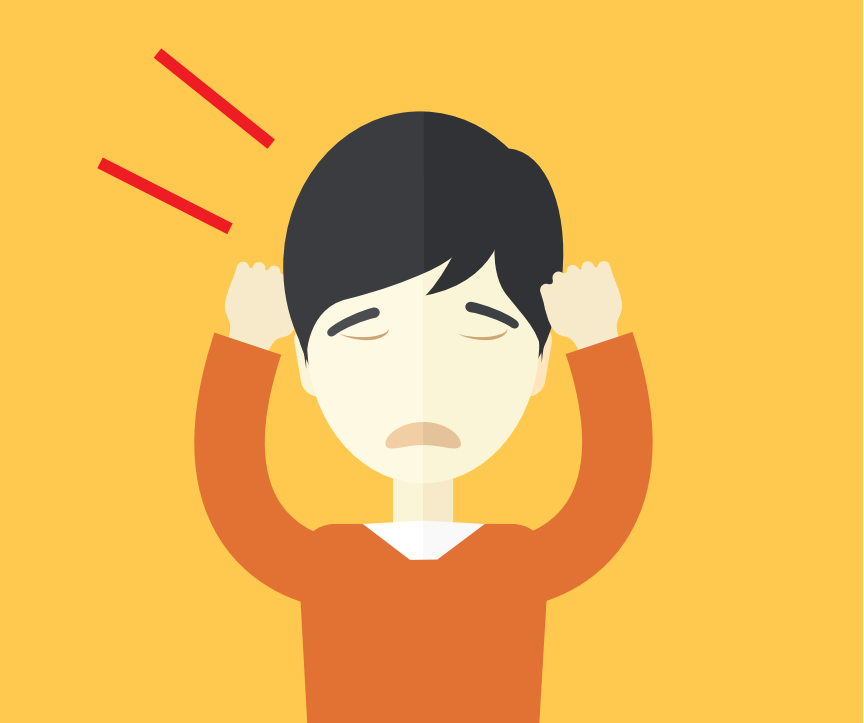 A frowning boy covering his ears is shown to the right of lines representing sound.