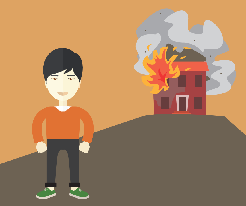 A boy is shown in the front left with a burning house in the background.