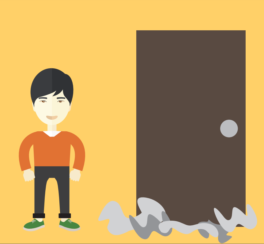 A boy stands to the left of a door with smoke coming out the bottom.