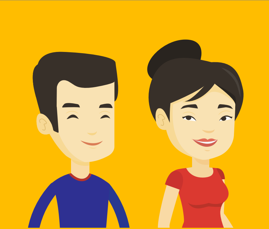 A smiling man and woman are shown in the center of the image.