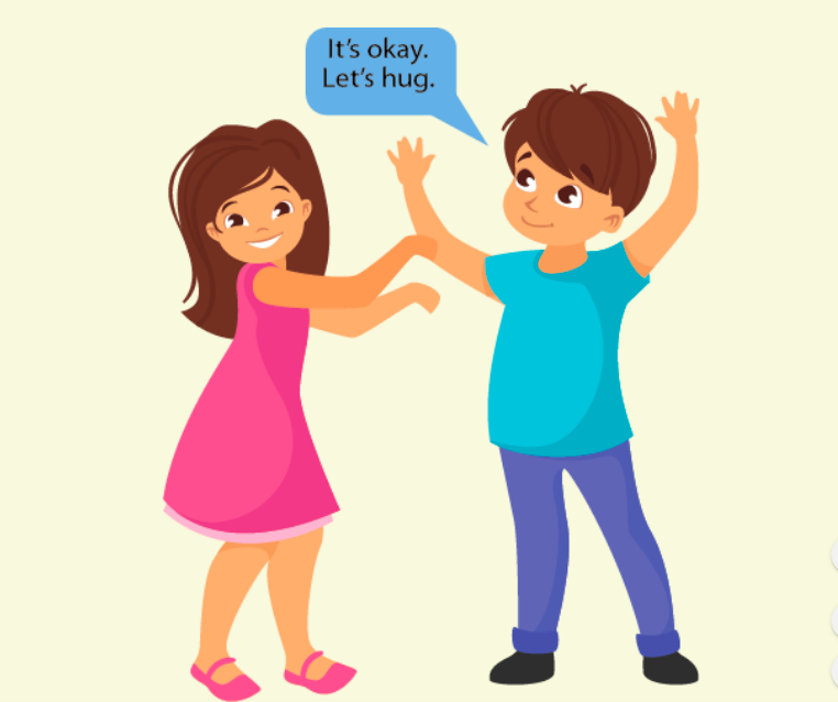 A smiling girl with outstretched arms stands next to a boy on her right. He says,