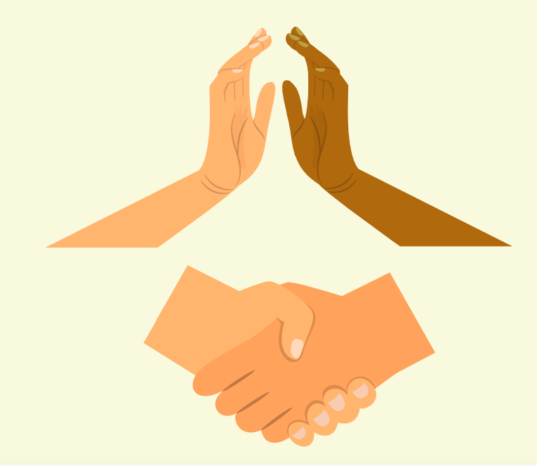 Two hands high five at the top of the image and a handshake is shown at the bottom.