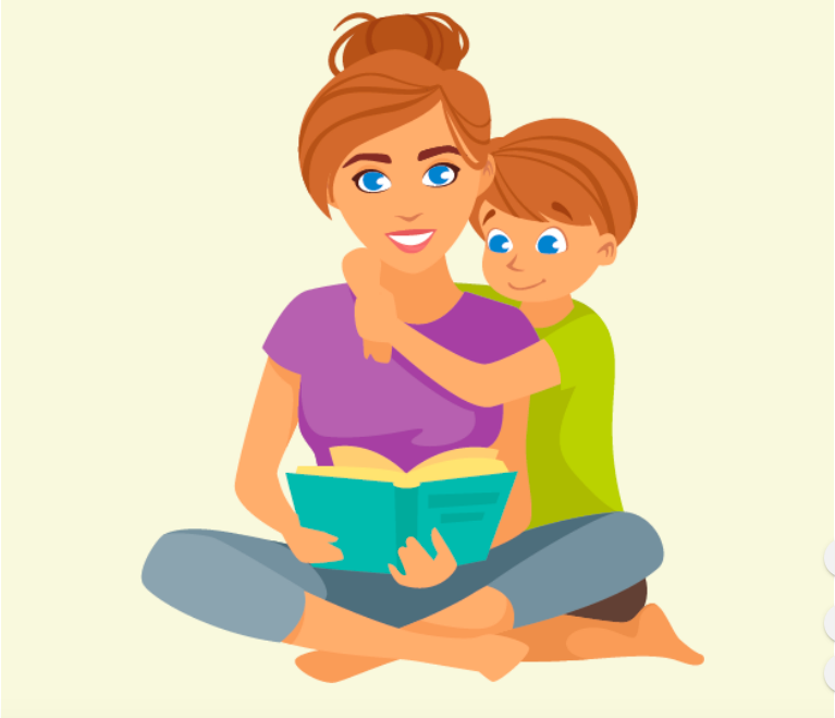 A boy sits with his arms around his mother, who is reading a book.