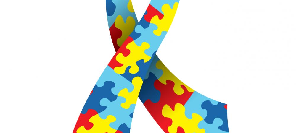 Multicolored autism awareness ribbon.