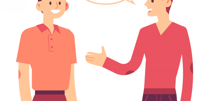 Cartoon rendering of one man holding out his hand to another man.