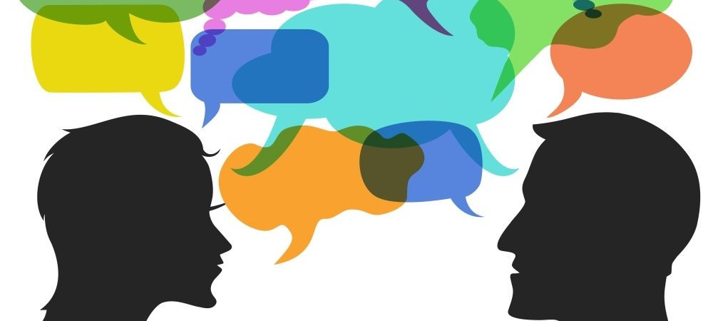 Communication graphic with different forms and colors of speech bubbles