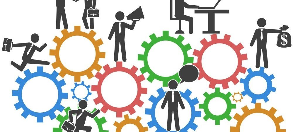 A graphic depicting different aspects of a job. There are gears in the graphic