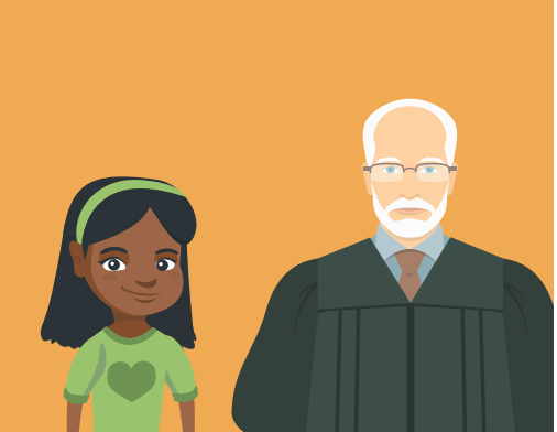 A young girl stands with a judge