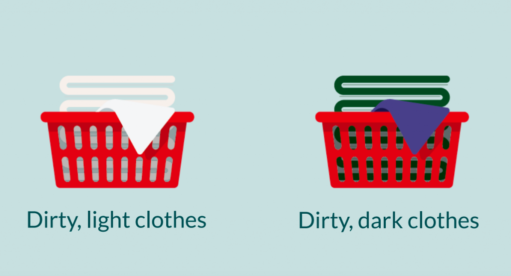 Two full laundry baskets are shown, one above the words