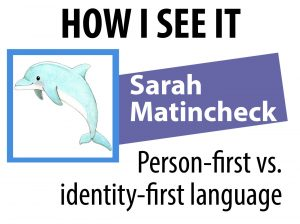 Blogger Sarah Matinchek's identifier for the How I See It series includes her name, the series name and a dolphin avatar.